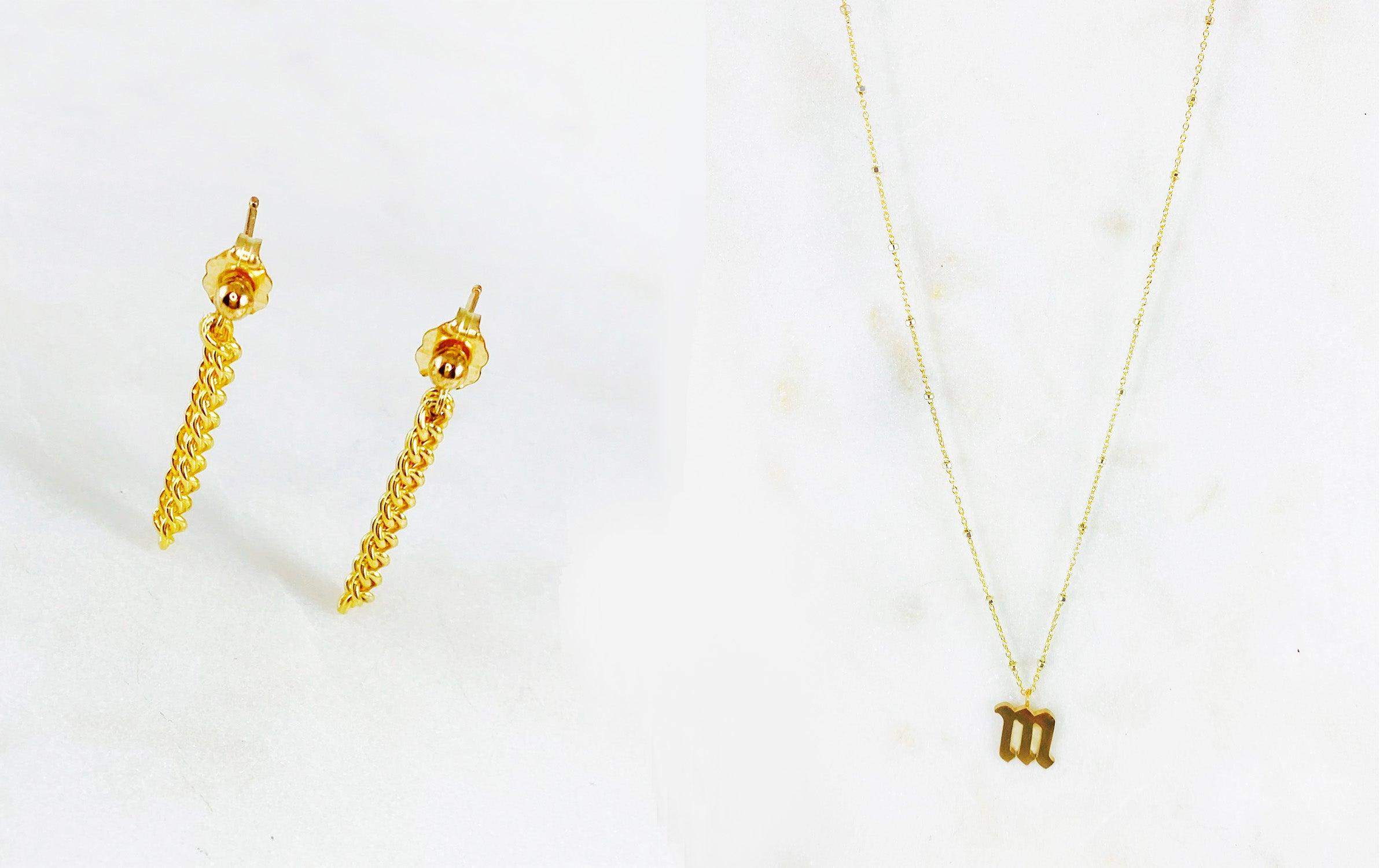 Golde earrings and initial necklace