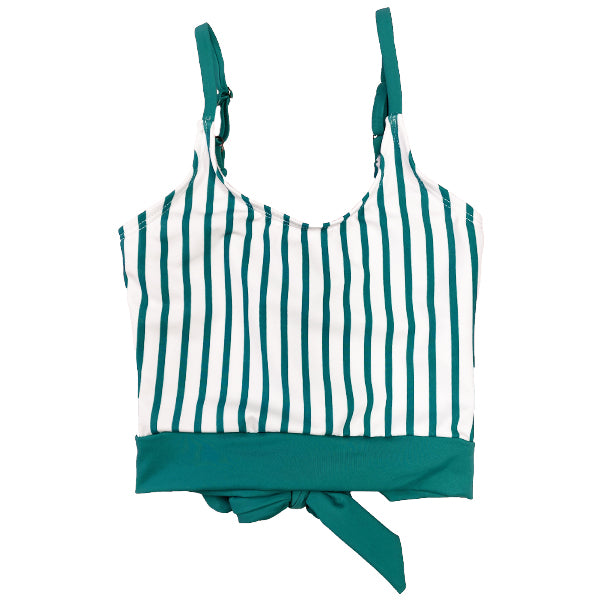 The Mini Lounger Top | Green & White Stripe