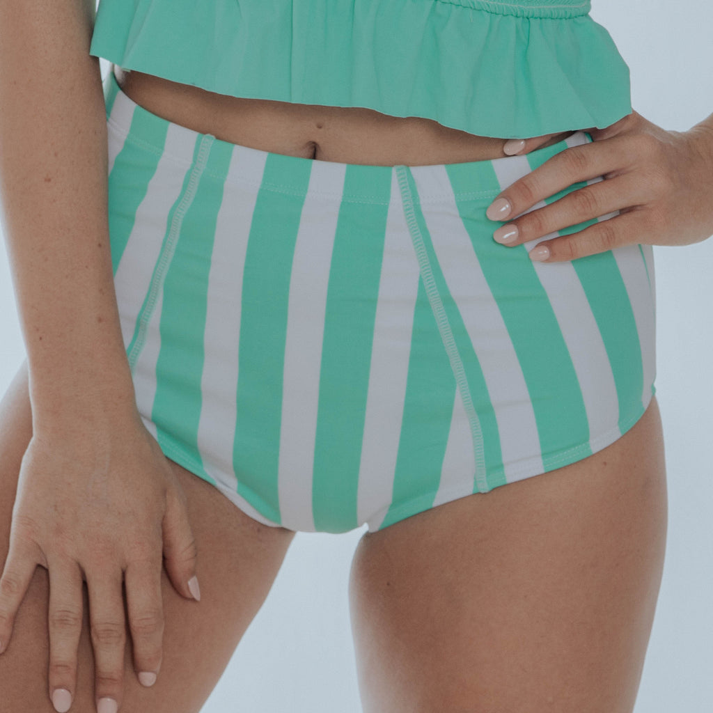 Costal Bottom | Mint & White Thick Stripes