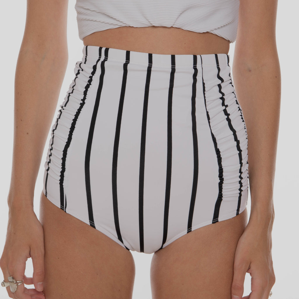 Sun Baked Bottoms |  White & Black Stripes