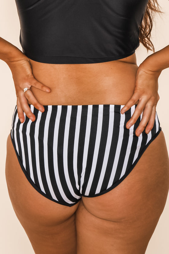 Breeze Reversible Bottoms | Black/Black & White Stripe