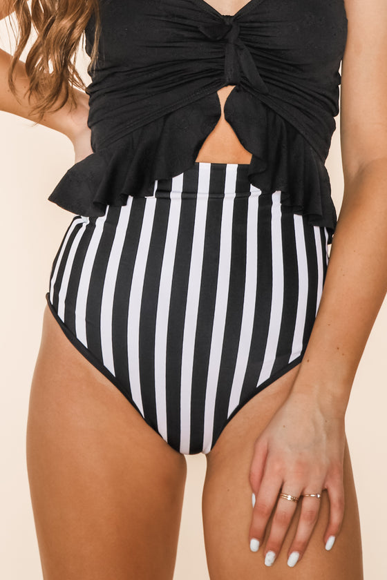 Bali Reversible Bottoms | Black/Black & White Stripe