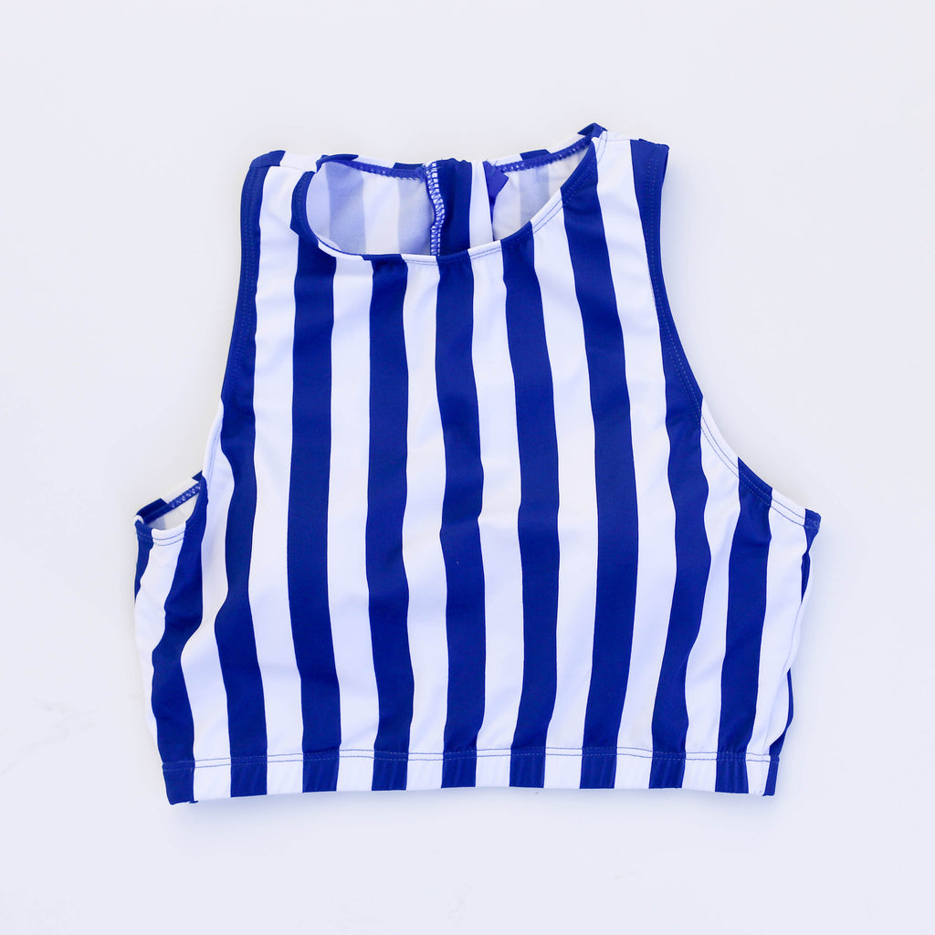 Hello Bombshell Top | Blue & White Stripes |