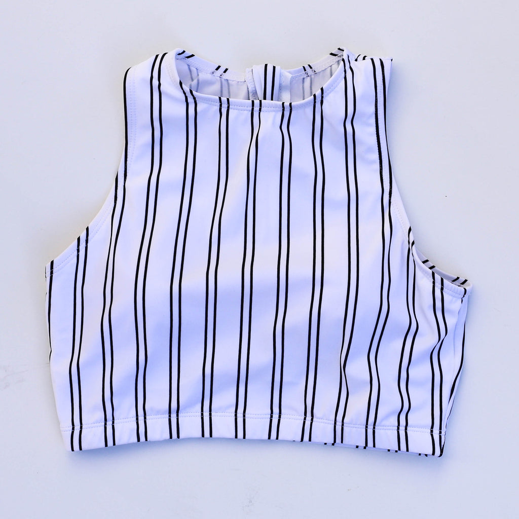 Hello Bombshell Top | White & Black Stripes |