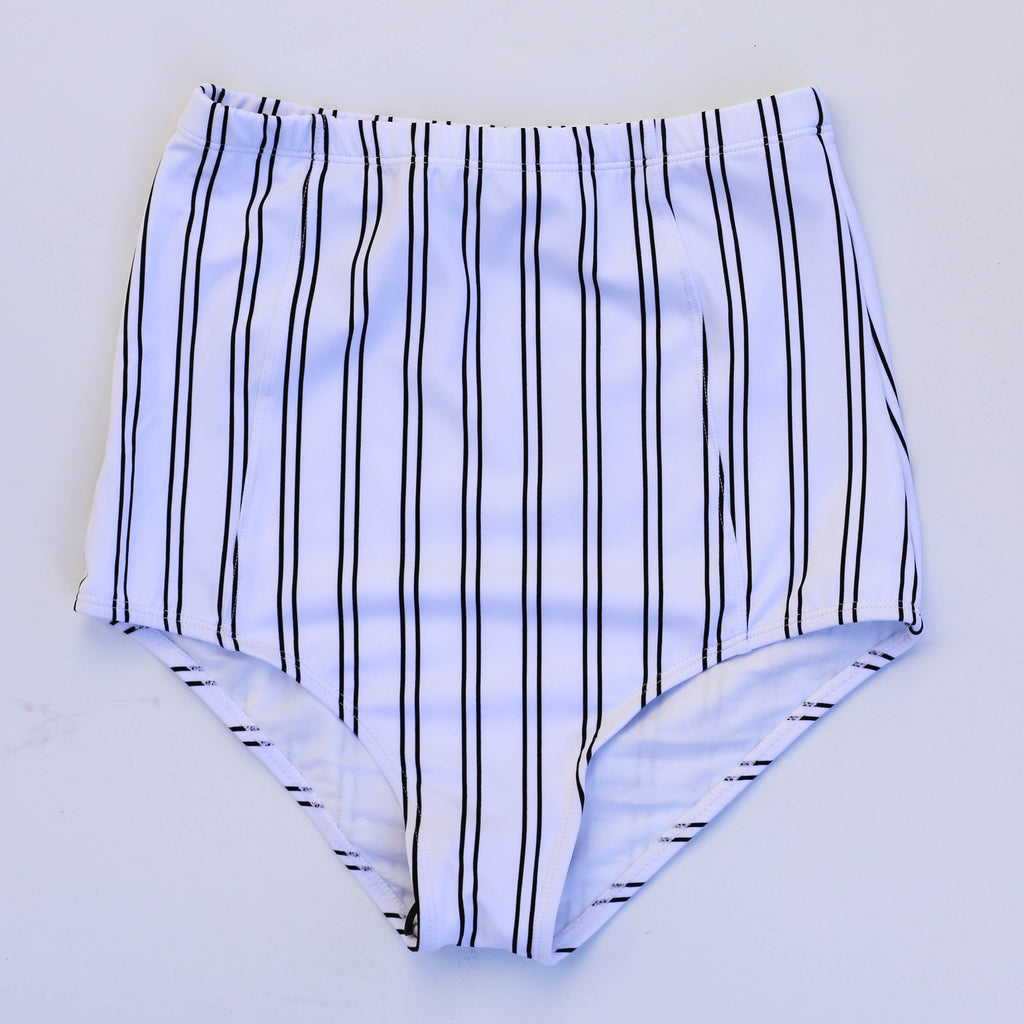 At The Beach Bottoms | White & Black Stripes |