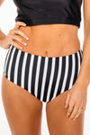 Lagoon Reversible Bottoms | Black/Black White Stripe