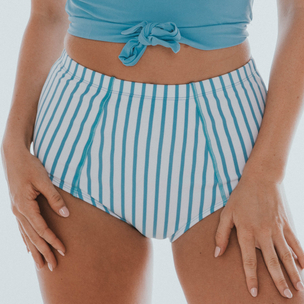 Beach Bum Bottom | Blue & White Thin Stripes