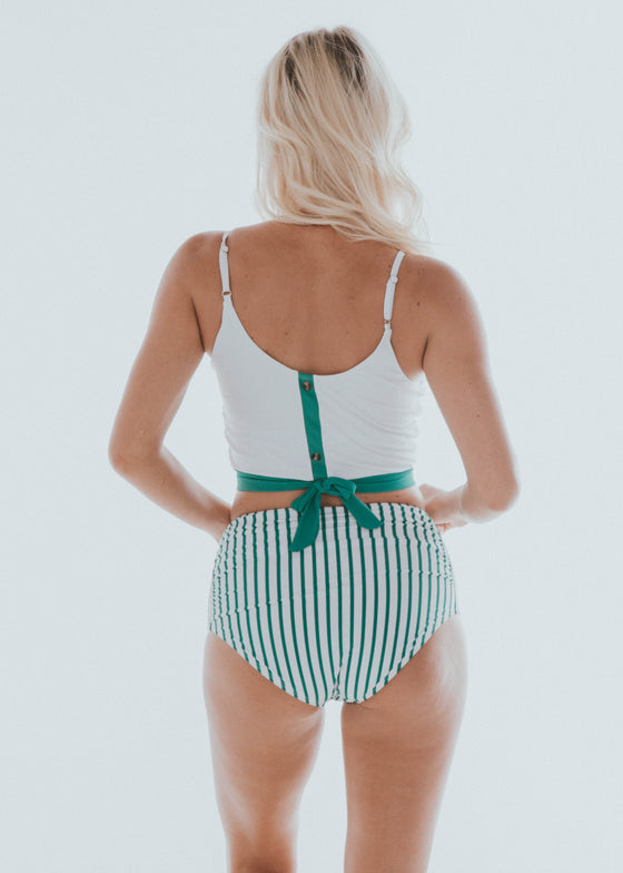 The Lounger Top | White & Green Colorblock