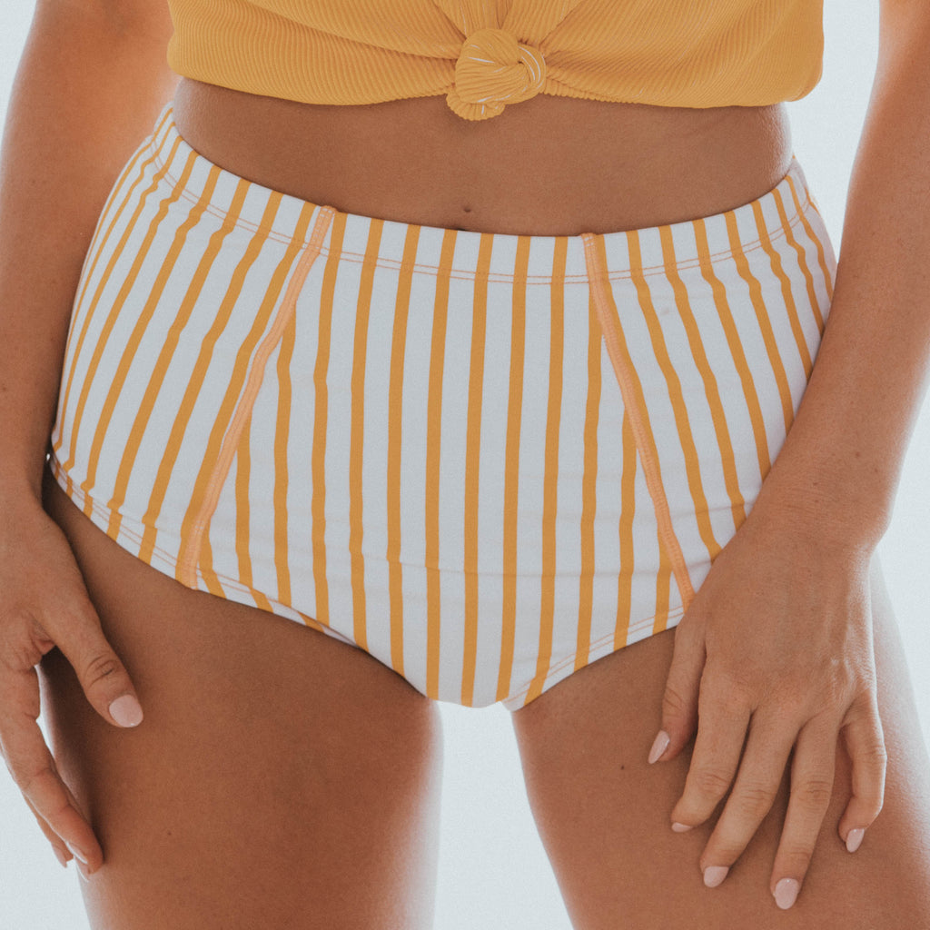 Beach Bum Bottom | Yellow & White Thin Stripes