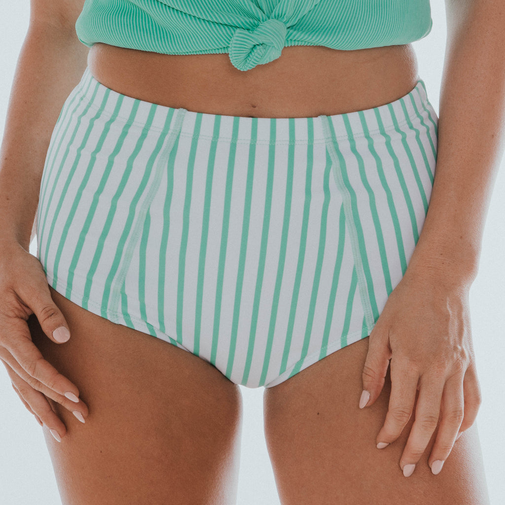 Beach Bum Bottom | Mint & White Thin Stripes