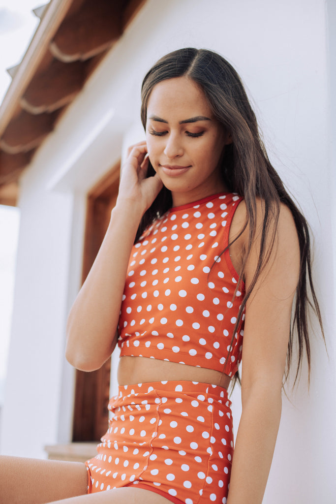 Hello Bombshell Top | Rust & White Polka Dots|
