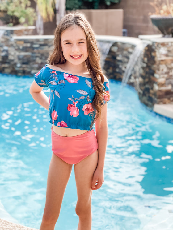Mini Mo'orea Reversible Top | Blue/Floral