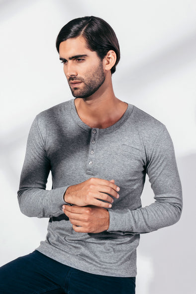 CACIANO HENLEY CUFFS PIMA ORGANIC COTTON Long Sleeve T-Shirt