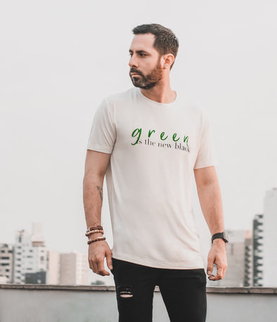 "WILD SOUL PROJECT ""GREEN IS THE NEW BLACK"" bamboo Short Sleeve Round Neck T-Shirt"