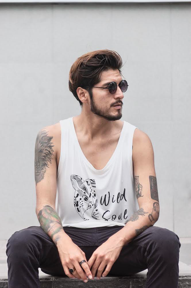 "WILD SOUL PROJECT ""WILD SOUL"" Bamboo Sleeve Less Round Neck T-Shirt"