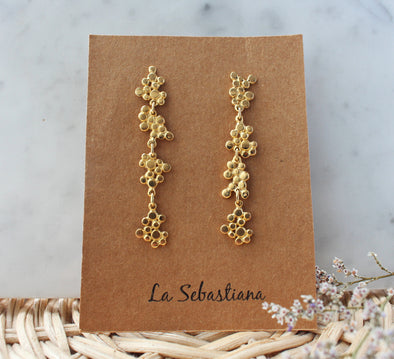 LA SEBASTIANA RACIMOS X RECYCLED SILVER 925 BATHED IN GOLD EARRINGS