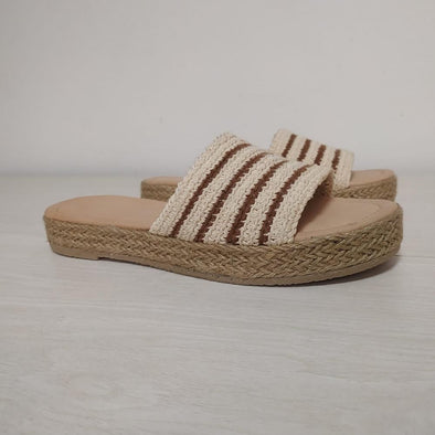 METAMORFOSIS FLORA NATIVA NATIVO ORGANIC COTTON STRIPED Sandals - 2cm Heel