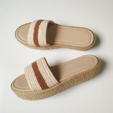 METAMORFOSIS FLORA NATIVA NATIVO ORGANIC COTTON SINGLE STRIPE Sandals - 5cm Heel