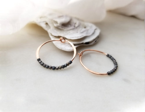 Fail Jewelry Small 14k Rose Gold Filled & Oxidized Bead Round Hoop Earrings