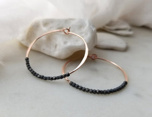 Fail Jewelry Medium 14k Rose Gold Filled & Oxidized Bead Round Hoop Earrings