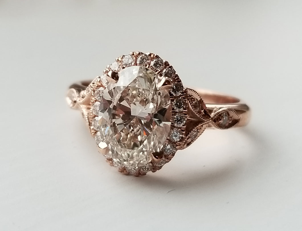 Modern Vintage Inspired Oval Diamond Ring With Leaf Details