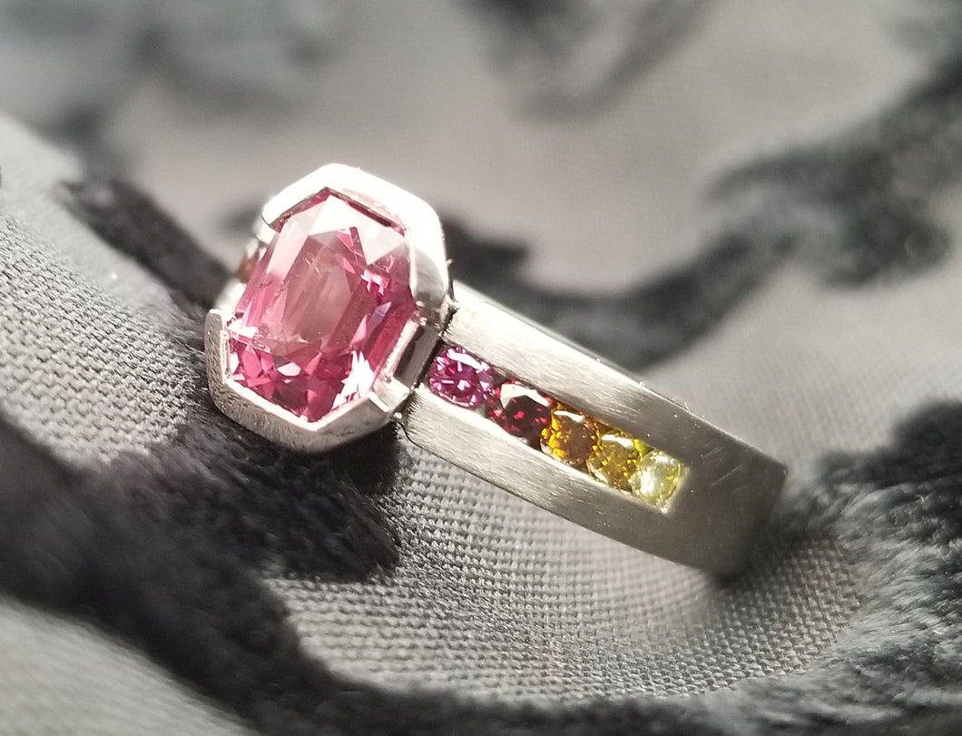Contemporary Inspired Pink Spinel and Enhanced Colored Diamond Ring