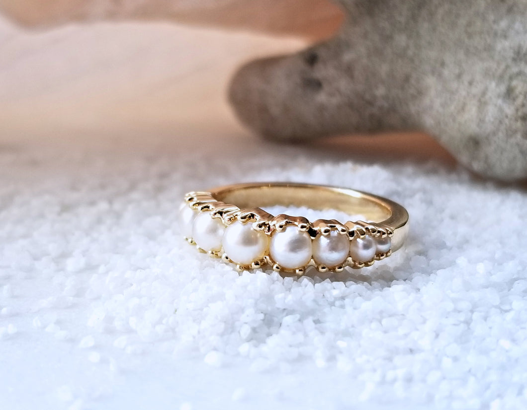 Modern Vintage Inspired Pearl Engagement Ring