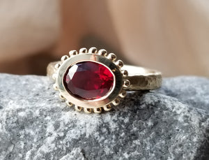 Vintage Inspired Hand Hammered 14K Yellow Gold Ring Set With An Heirloom Synthetic Red Corundum