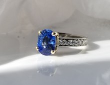 Load image into Gallery viewer, Contemporary Inspired Blue Sapphire And Diamond Ring