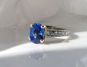 Contemporary Inspired Blue Sapphire And Diamond Ring