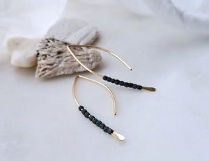 Fail Jewelry 14K Yellow Gold Filled And Oxidized Silver Small Beaded Crescent Earrings