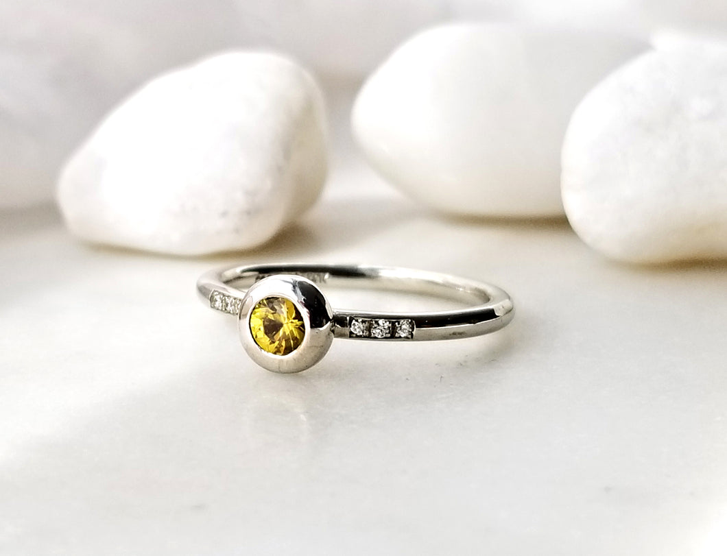 Family Concept Yellow Sapphire And Diamond Ring
