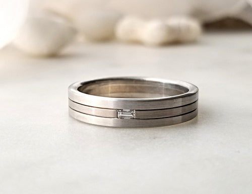 Christian Bauer Platinum And White Gold Band With Baguette Diamond