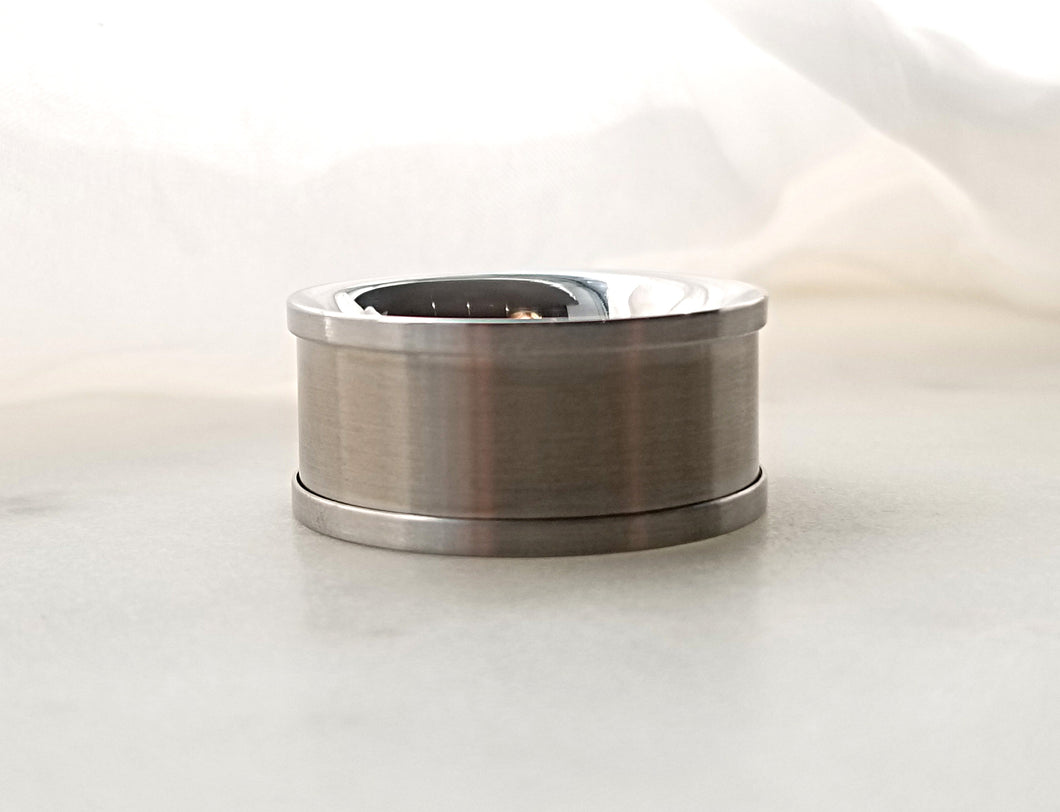 Carl Dau Plain Titanium And Stainless Steel Comfort Fit Band