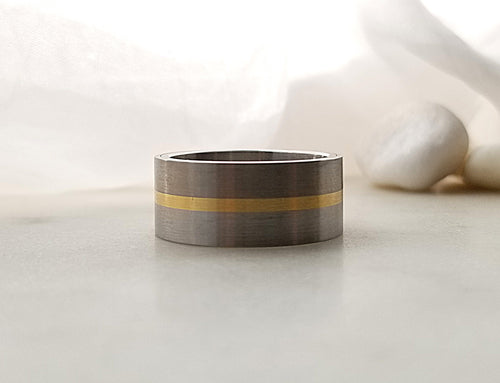 Carl Dau 18K Yellow Gold, Titanium and Stainless Steel Band