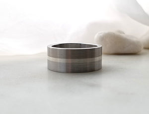 Carl Dau Sterling Silver, Titanium And Stainless Steel Band