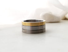 Load image into Gallery viewer, Carl Dau Yellow Gold , Titanium And Sterling Silver Band
