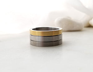 Carl Dau Yellow Gold , Titanium And Sterling Silver Band