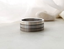 Load image into Gallery viewer, Carl Dau Stainless Steel, Titanium And Sterling Silver Band