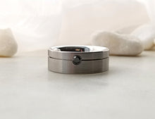 Load image into Gallery viewer, Carl Dau Stainless Steel Band With Black Diamond