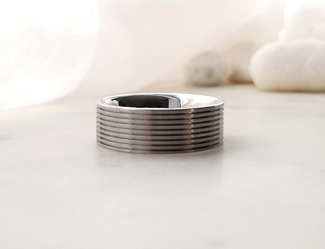 Carl Dau Stainless Steel Comfort Fit Band With Grooves