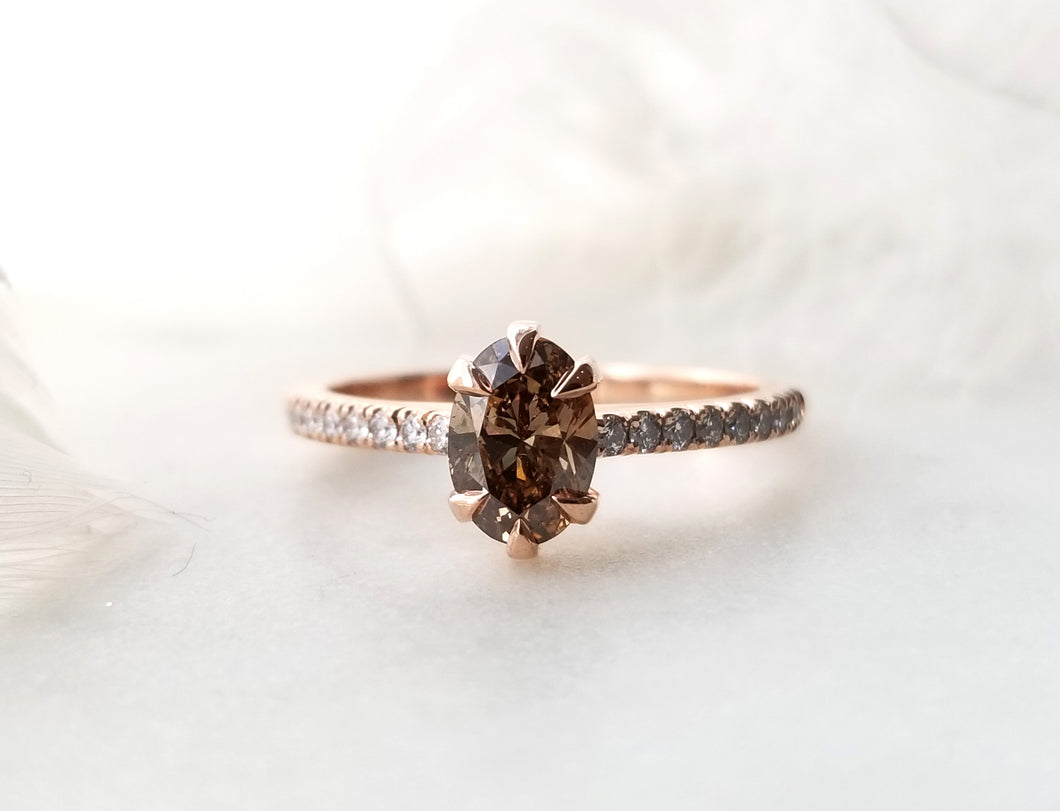 Modern Vintage Concept Light Brown Oval Shaped Diamond Ring