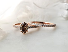 Load image into Gallery viewer, Modern Vintage Concept Light Brown Oval Shaped Diamond Ring