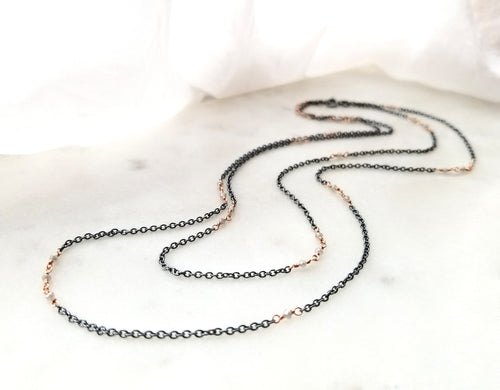 Jen Leddy Long Layering Chain With Grey Diamonds
