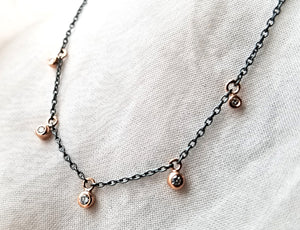 Jen Leddy Five Rose Gold Diamond Bezel Drop Neckalce