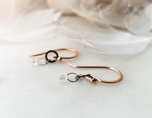 Jen Leddy Rose Gold & Oxidized Silver Diamond Briolette Drop Earrings