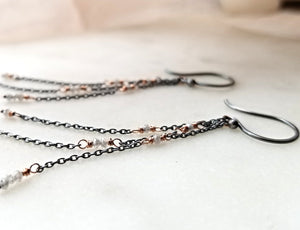 Jen Leddy Triple Chain Earrings With Grey Diamonds