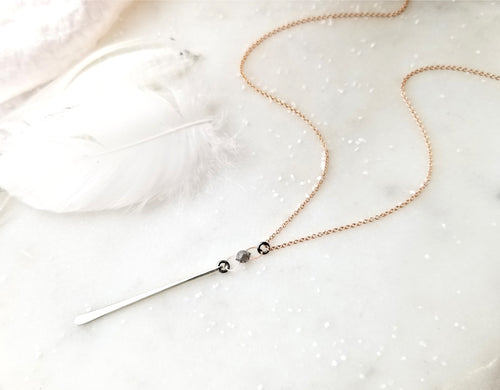 Jen Leddy Vertical Bar Necklace with Grey Diamond Briolette