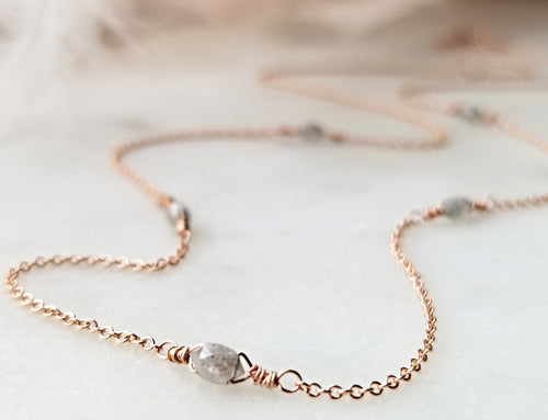 Jen Leddy Rose Gold Necklace With Grey Diamonds