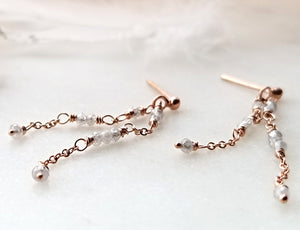 Jen Leddy Rose Gold Earings With Grey Diamond Beads
